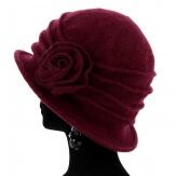 Bonnet chapeau cloche 100% laine bouillie hiver wine CATHERINE