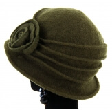 Bonnet chapeau cloche 100% laine bouillie hiver kaki green CATHERINE