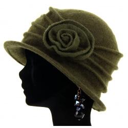 Bonnet chapeau cloche laine CATHERINE Kaki green-Bonnet femme-CHARLESELIE94