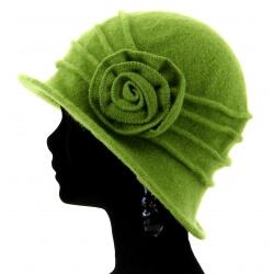 Bonnet chapeau cloche 100% laine bouillie hiver vert pistache CATHERINE
