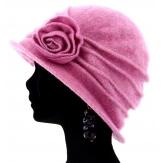 Bonnet chapeau cloche 100% laine bouillie hiver rose CATHERINE