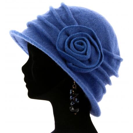 Bonnet chapeau cloche 100% laine bouillie hiver bleu tendre CATHERINE