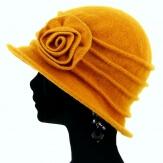 Bonnet chapeau cloche 100% laine bouillie hiver moutarde CATHERINE