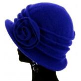 Bonnet chapeau cloche 100% laine bouillie hiver bleu royal CATHERINE