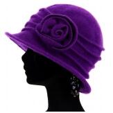 Bonnet chapeau cloche 100% laine bouillie hiver violet CATHERINE