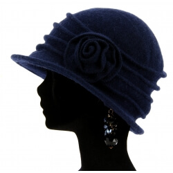 Bonnet chapeau cloche laine CATHERINE Marine-Bonnet femme-CHARLESELIE94