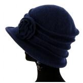 Bonnet chapeau cloche 100% laine bouillie hiver bleu marine CATHERINE