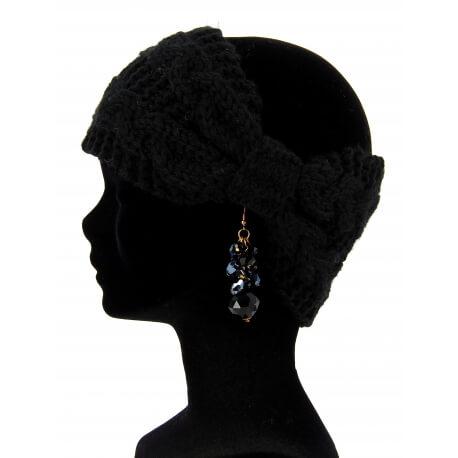 Bandeau cheveux tricoté hiver bonnet noir PIPO