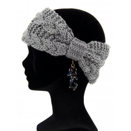 Bandeau cheveux tricoté hiver bonnet gris PIPO