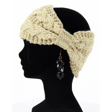 Bandeau cheveux tricoté hiver bonnet beige PIPO
