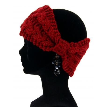 Bandeau cheveux tricoté hiver bonnet bordeaux PIPO