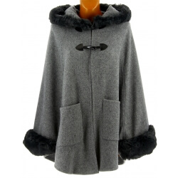 Cape manteau capuche grande taille laine fourrure gris ARSENE
