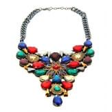 Gros collier plastron couture cristal multicolore C31