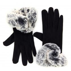 Gants femme hiver tactiles polaire fourrure G18 Noir Gants femme