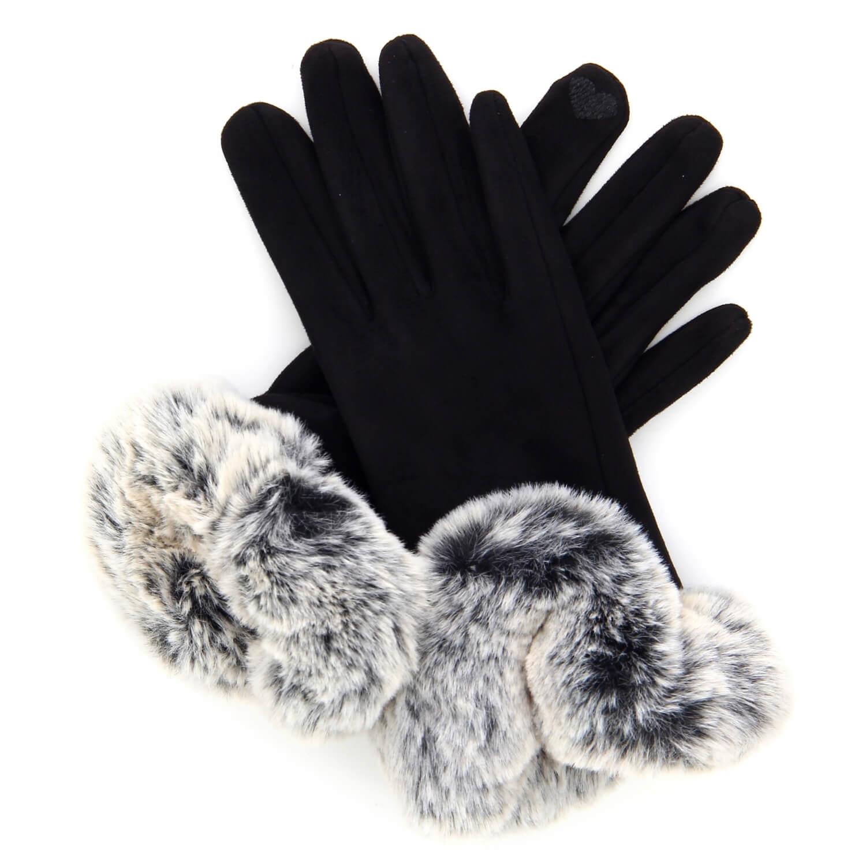 c2a7da42ad9 Gants femme hiver tactiles polaire fourrure noir G18