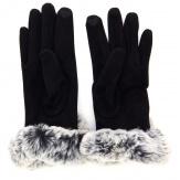 Gants femme hiver tactiles polaire fourrure noir G18