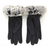 Gants femme hiver tactiles polaire fourrure gris G18