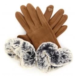Gants femme hiver tactiles polaire fourrure G18 Camel Gants femme