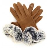 Gants femme hiver tactiles polaire fourrure camel G18