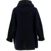 Manteau court capuche hiver laine bouillie marine LORENA