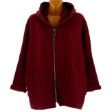 Manteau court capuche hiver laine bouillie bordeaux LORENA