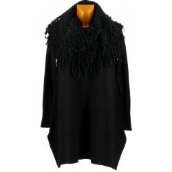 Pull tunique long + écharpe xxl hiver noir ENIO