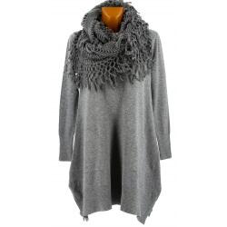 Pull tunique long + écharpe xxl hiver gris ENIO