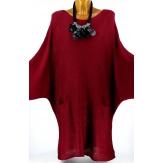 Pull long femme grande taille laine bohème bordeaux MANUREVA