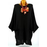 Pull long femme grande taille laine bohème noir MANUREVA