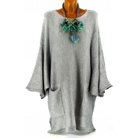 Pull long femme grande taille laine bohème gris MANUREVA