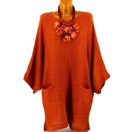 Pull long femme grande taille laine bohème potiron MANUREVA