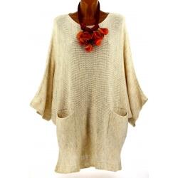 Pull long femme grande taille laine bohème beige MANUREVA