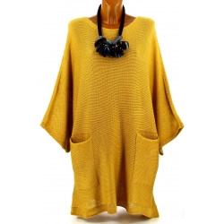Pull long femme grande taille laine bohème moutarde MANUREVA