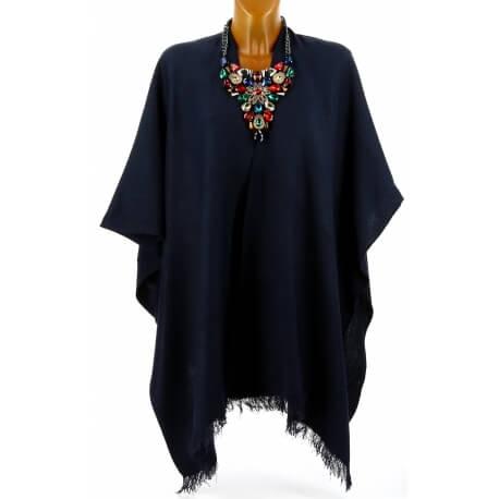 Poncho cape laine hiver grande taille bleu marine TAMIA