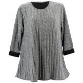 Tunique grande taille hiver plissée bohème gris MAGDA