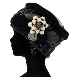 Bonnet béret femme laine hiver PIERROT Noir Bonnet femme