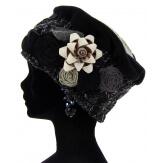 Bonnet béret chapeau femme laine hiver noir PIERROT