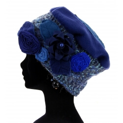 Bonnet béret femme laine hiver PIERROT Bleu Bonnet femme