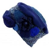 Bonnet béret chapeau femme laine hiver bleu PIERROT