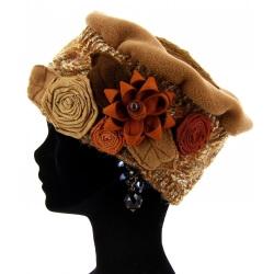 Bonnet béret femme laine hiver PIERROT Camel Bonnet femme
