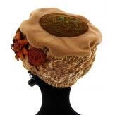 Bonnet béret chapeau femme laine hiver camel PIERROT