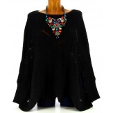 Pull poncho femme grande taille laine noir HORACE