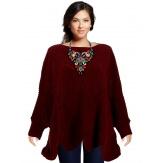 Pull poncho femme grande taille laine bordeaux HORACE