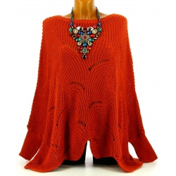 Pull poncho femme grande taille laine potiron HORACE