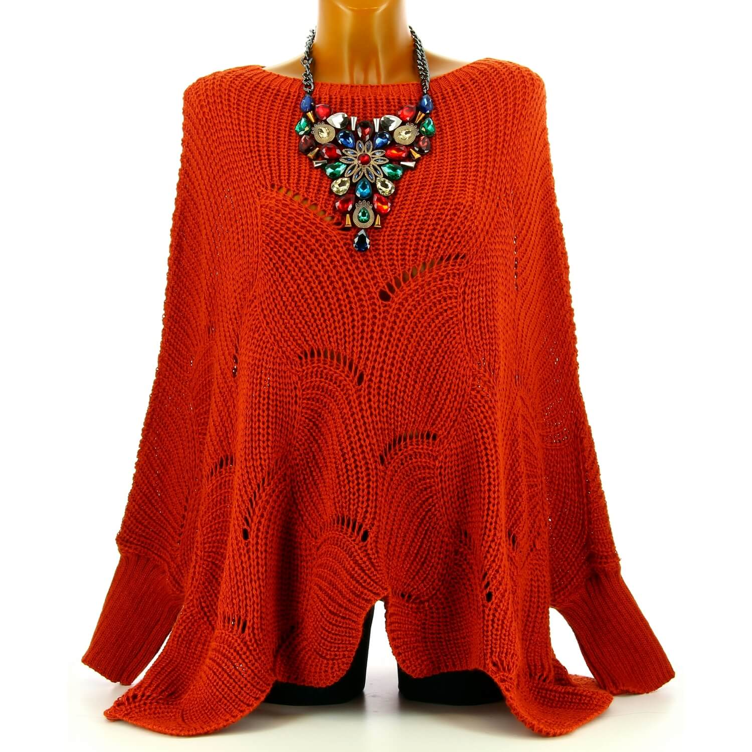 Femme Grande Horace Poncho Taille Potiron Pull Laine UVGzMpqS
