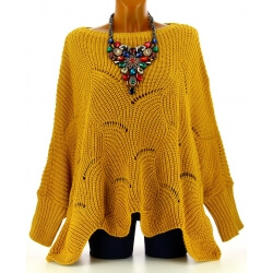 Pull poncho femme grande taille laine moutarde HORACE