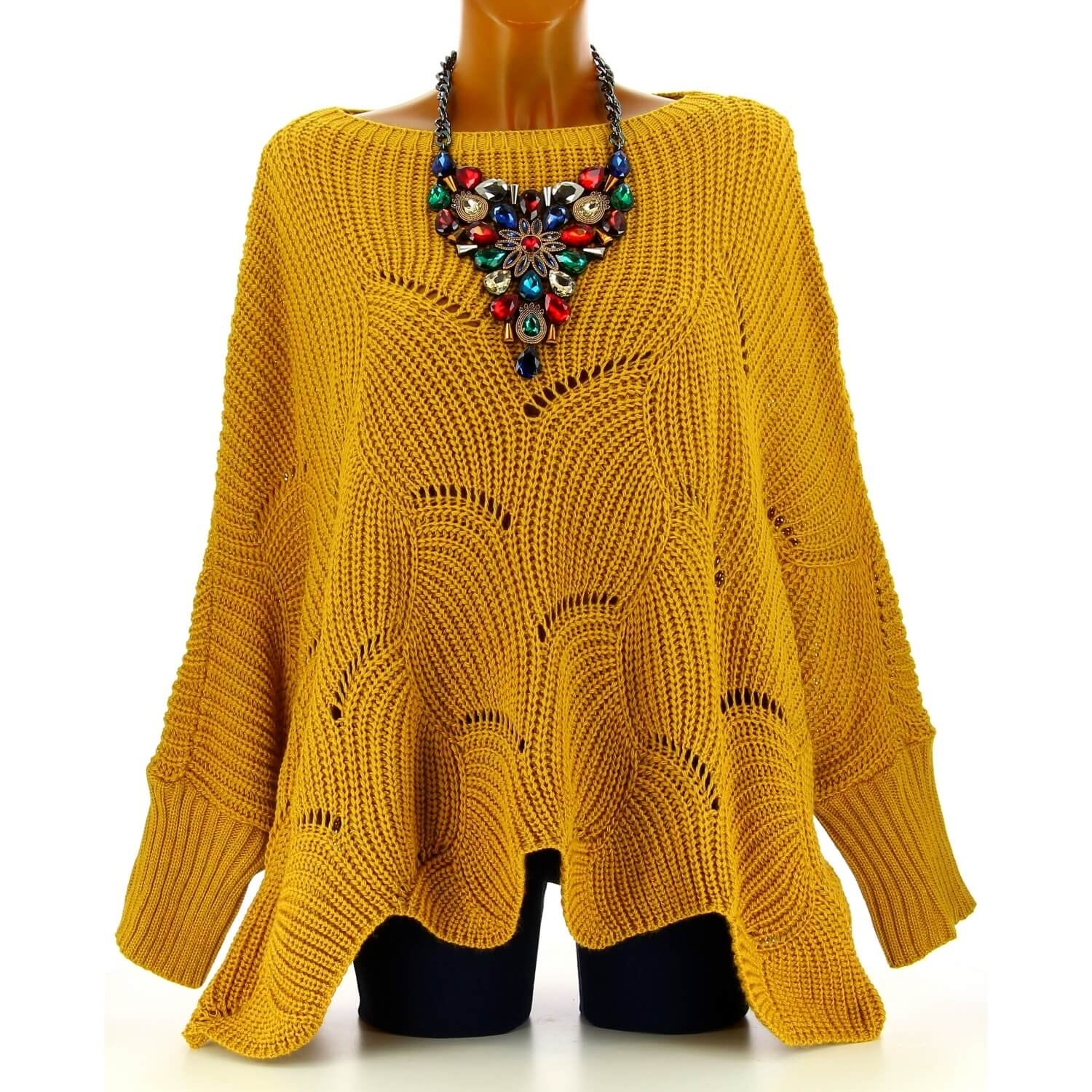 Poncho Horace Pull Grande Femme Moutarde Taille Laine QrdCtxBsh