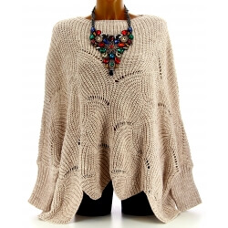 Pull poncho femme grande taille laine beige HORACE