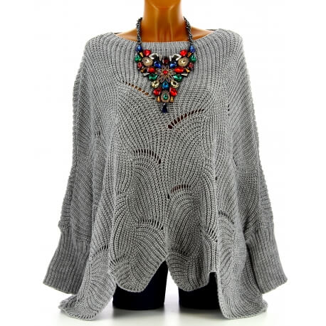 Pull poncho femme grande taille laine gris HORACE