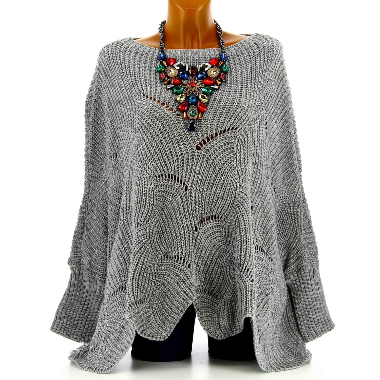 meilleure sélection c0274 a764d Pull poncho femme grande taille laine gris HORACE